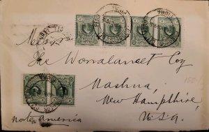 O) 1915 PERU, COLUMBUS, SCT 178 2c green, CIRCULATED COVER TO USA