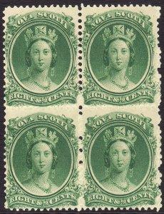 1860-63 Canada Nova Scotia Queen Victoria QV 8½¢ block of 4 MNH Sc# 11 CV $80