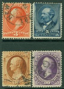 EDW1949SELL : USA 1887 Scott #214, 216-18 Used. Small faults. Catalog $382.00.