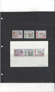 Laos 109-11a MNH ITU Centenary Stamps & Souvenir Sheet