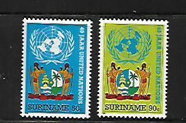SURINAM, 710-11 , MNH, UN EMBLEM,NATIONAL COAT OF ARMS