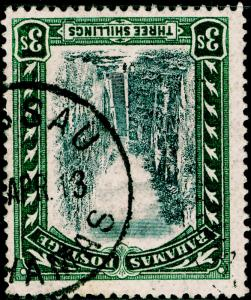 BAHAMAS SG61y, 3s black & green, FINE USED. CDS. Cat £140. WMKCC. WMK INV & REV