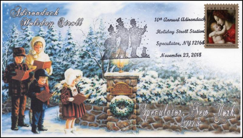 18-328, 2018, Adirondack Holiday Stroll, Pictorial Postmark, Event Cover, Specul