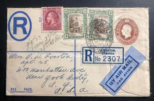 1937 Kingston Jamaica Registered Letter Airmail Cover To New York USA