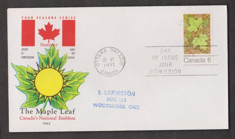 CANADA Scott # 536 On FDC - 1971 Maple Leaf In Summer # 2 Issue Cole Cachet