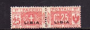 LIBIA 1927 - 1937 LIBIA PACCHI POSTALI PARCEL POST CENT. 25c MH