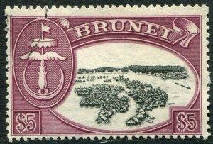 BRUNEI-1956 $5 Black & Brown-Purple Sg 113a FINE USED V48419