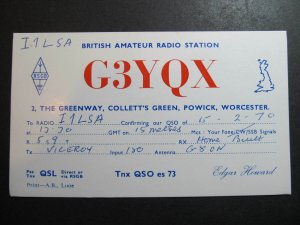 10401 Amateur Radio QSL Card COLLETT'S GREEN POWICK WORCESTER ENGLAND