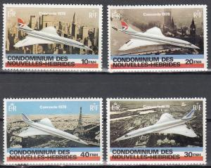 New Hebrides (France), Sc # 274-277, MNH, 1978, Concorde Set