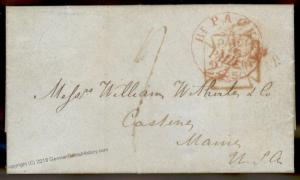 England Britain 1850 Castine Maine USA Transatlantic Stampless Cover 77681