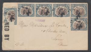 Guatemala Sc 158 (6) on 1918 Censored Cover, New Orleans PAGUEBOT, Censor's Tape