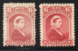 Newfoundland Canada Sc 35-6 6 c Queen Victoria stamps mint