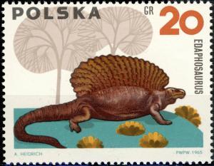 POLOGNE / POLAND - 1965 - Mi.1570 10gr Edaphosaurus, Prehistoric Animals - Mint