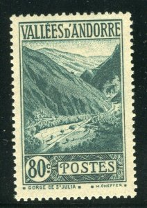 FRENCH ANDORRA; 1932 early Pictorial issue fine Mint hinged 80c. value