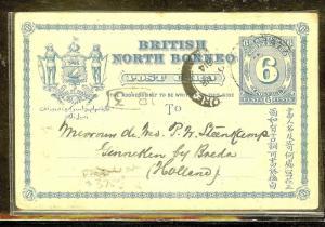 NORTH BORNEO (P1106B) PSC 6C 1914 FROM LAHAD DATU VIA JESSELTON, SINGAPORE TO HO