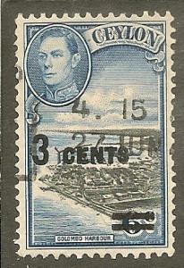 Ceylon   Scott  291     Surcharge