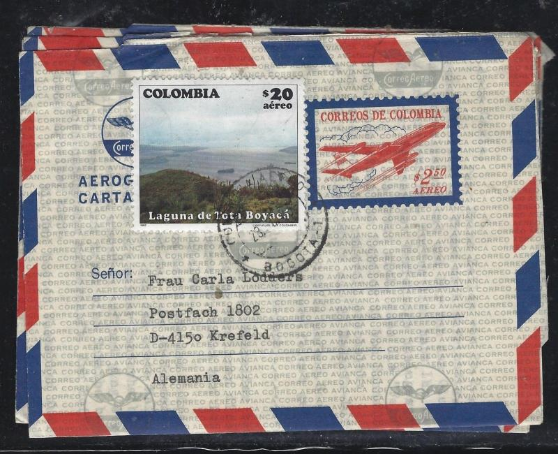 COLOMBIA  (PP0308B) 2.50 AIRPLANE AEROGRAMME UPRATED 20.00  LAGUNA TO GERMANY