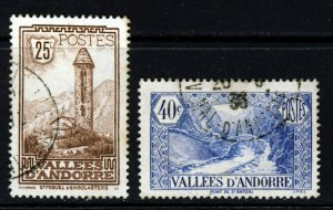 ANDORRA (French) 1932-43 Views Issue 25c. & 40c. SG F31 & F34 VFU