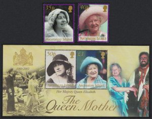 Ascension Queen Mother Commemoration 2v+MS 2002 MNH SG#848-MS850