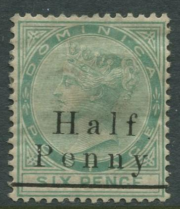 DOMINICA -Scott 13 - QV - Overprint -1886 - MH -Wmk 1- Single 1/2p on a 6p Stamp