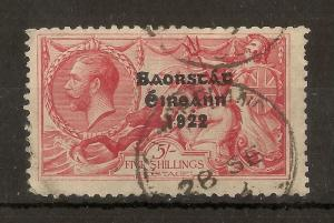Ireland 1922 5/- Seahorse SG65 'Wide Date' Used Cat£160