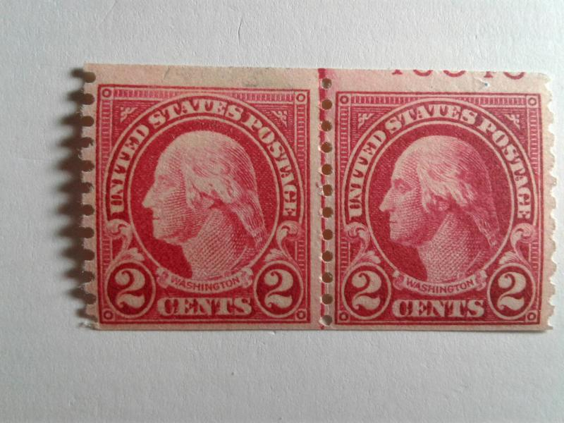 SCOTT # 599 MINT NEVER HINGED VERTICAL COIL  LINE PAIR W/ PARTIAL NUMBERS !!!!