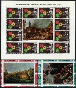 Ghana 375-377 sheets,MNH.Michel 386-388 bogens. ILO 50th Ann.Cogwheels.1970