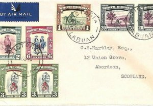NORTH BORNEO Air Mail Cover LABUAN *Victoria* Overprints GB Scotland 1948 GV119