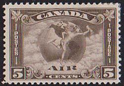 Canada USC #C2 VF - 1930 5c Air - VF-Small HR - Cat. $90.00