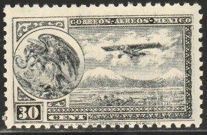MEXICO C75, 30¢ Early Air Mail WITH Secretaria wmk. MINT, NH. F-VF.