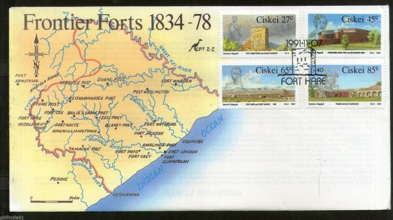 Ciskei 1991 Frontier Forts Map Architecture Sc 183-86  FDC # 16200