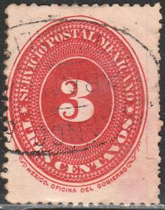 MEXICO 214, 3cts LARGE NUMERAL WATERMARKED, USED. (131)