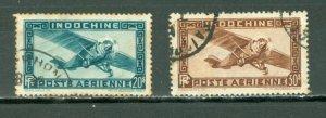INDO-CHINA 1949 AIR #C27-28...SET...USED NO THINS...$13.00