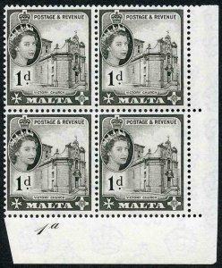 Malta SG268 1d Black Plate 1a U/M Block