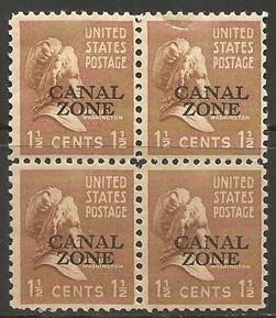 CANAL ZONE 119 MNH BLOCK OF 4 TOP STAMP IS FAULTY T817