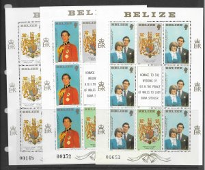 Belize 548-50 MNH sets in M/S x 7, vf. see desc. 2020 CV$111.30