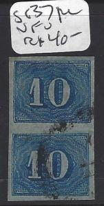 BRAZIL (P2302BB)   NUMERAL 10R BLUE SC 37  PR VERT   VFU