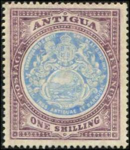 Antigua SC# 37 SG# 49 Colonial Seal 1shilling  WMK 3 MH