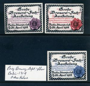 3 VINTAGE 1914 BREWERY EXPO SHOW POSTER STAMPS (L755) BERLIN GERMANY