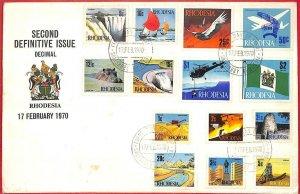 aa2367 - RHODESIA - POSTAL HISTORY - FDC COVER 1970 Hippopotamus BIRDS helicopt