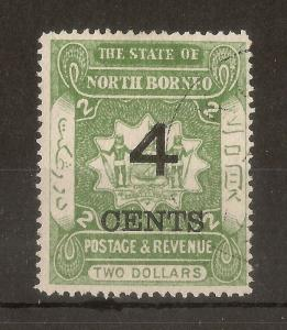 North Borneo 1899 4c on $2 SG122 Fine Used