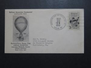 US 1958 Balloon Ascension Centennial Black Cacheted Cover  - Z8790