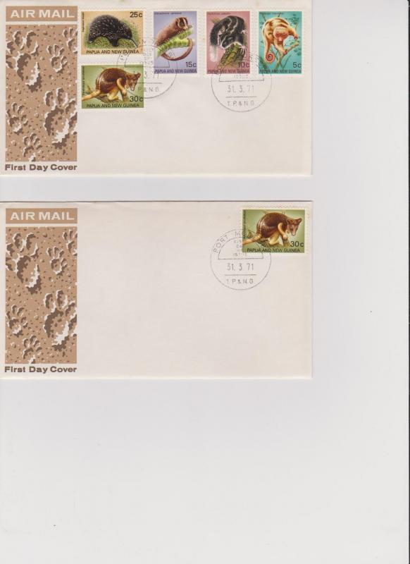 Papua New Guinea 13 First Day Covers from 1971 South Pacific Games and Wildlife