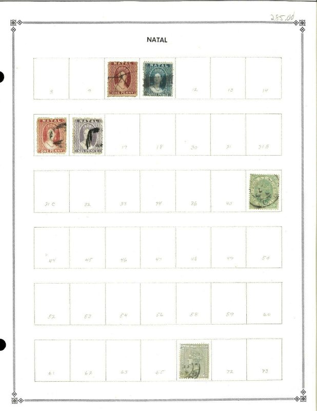Natal 1863-1902 M & U Hinged on 1 Blank Scott International Page