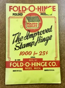 Vintage Fold-O-Hinge  Pack of 1000 Stamp Hinges 1955  original company