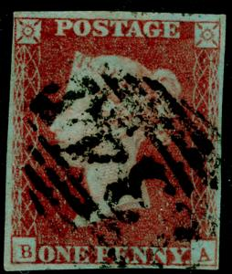 SG10, 1d deep red-brown PLATE 91, USED. Cat £45. 4 MARGINS. BA