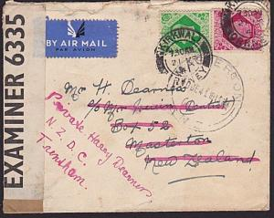GB 1941 GVI 7d & 8d on censor cover Kirkwall Orkney to New Zealand..........3231