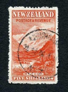 New Zealand SG329ab 5/- Deep Red Wmk upright Perf 14 Cat 375 pounds