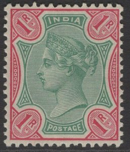 INDIA SG105 1892 1r GREEN & ROSE MTD MINT
