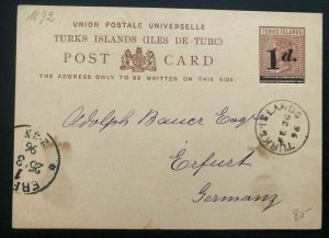 1896 TURKS Island Stationery Postcard Cover To Erfurt Germany Via London England